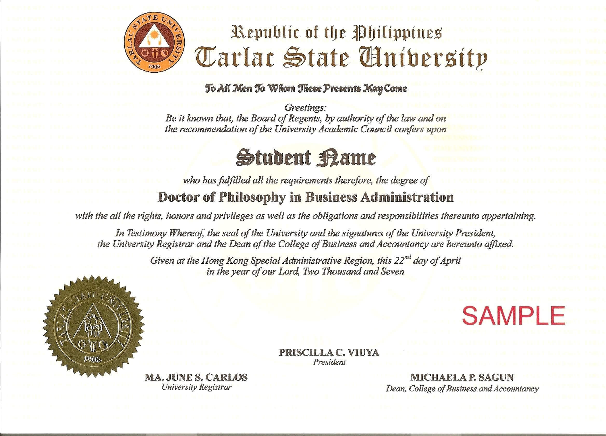 11 Free Printable Degree Certificates Templates Phd Pertaining To Doctorate Certificate Template