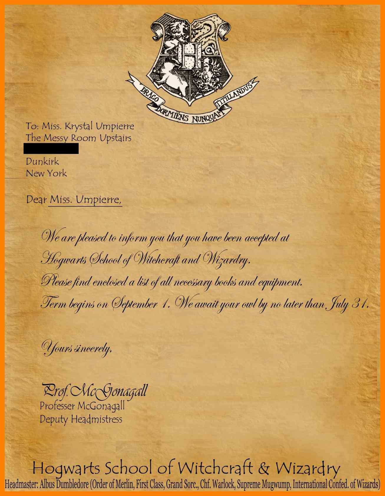 11+ Harry Potter Acceptance Letter Template Download Regarding Harry Potter Certificate Template
