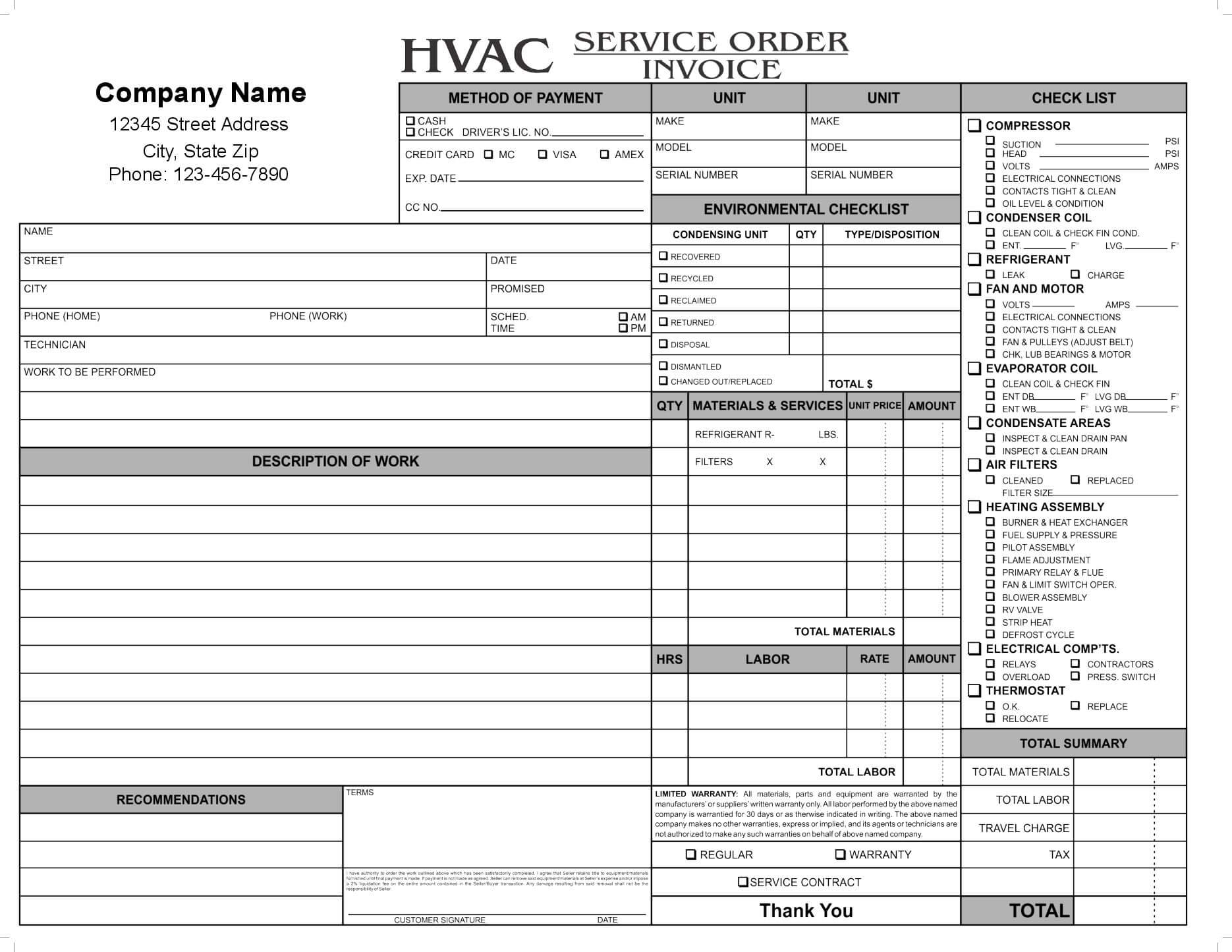 11 Hvac Invoice Template Free Top Invoice Templates Hvac for Technical Service Report Template