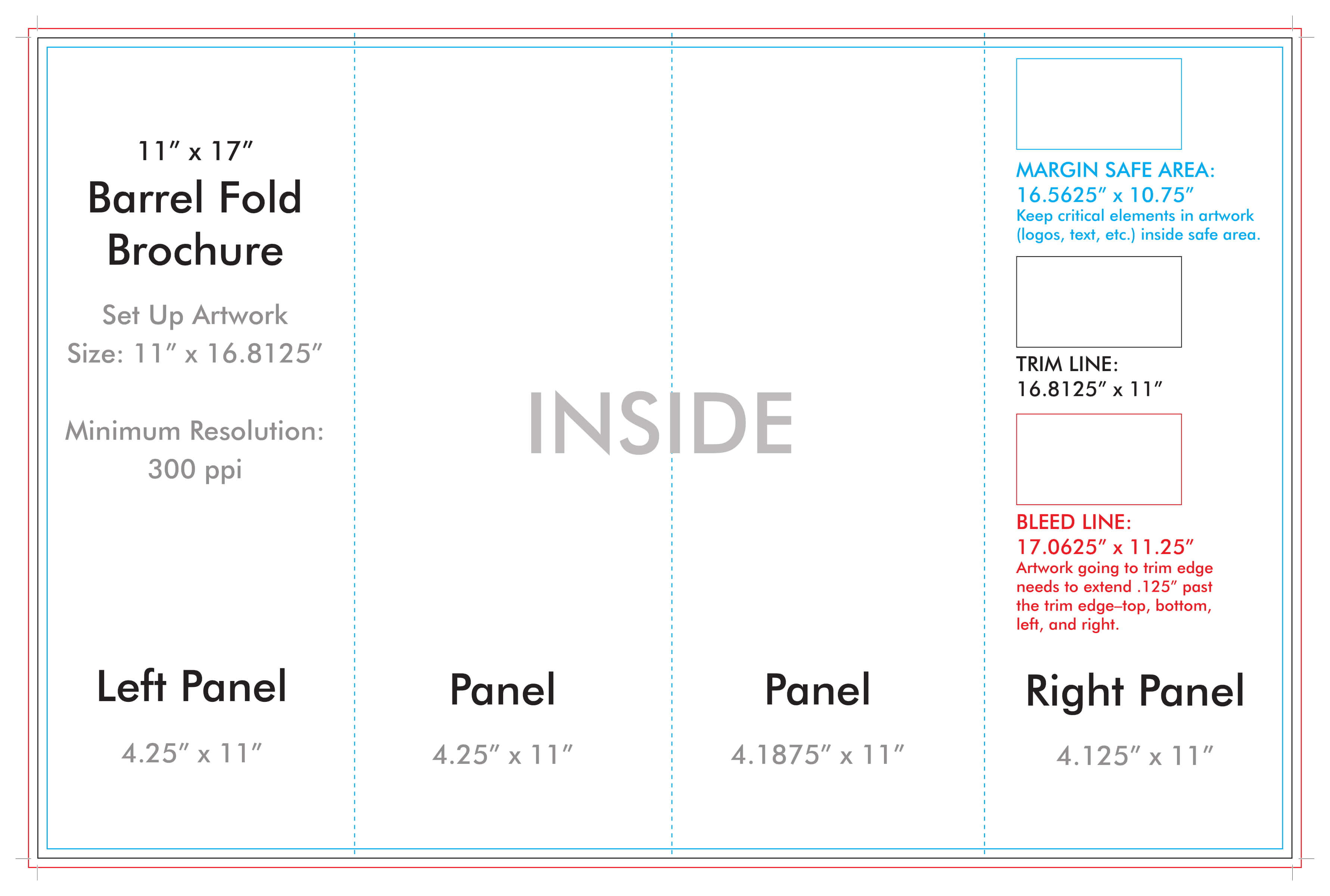 """11"""" X 17"""" Barrel Fold Brochure Template - U.s. Press inside 4 Fold Brochure Template"""