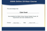 12 Certificate Of Training Template Free   Business Letter intended for Osha 10 Card Template