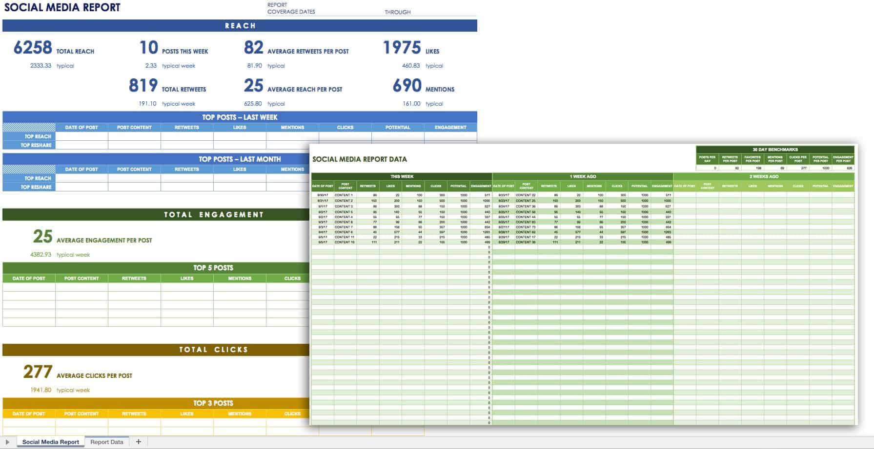12 Free Social Media Templates   Smartsheet In Social Media Marketing Report Template