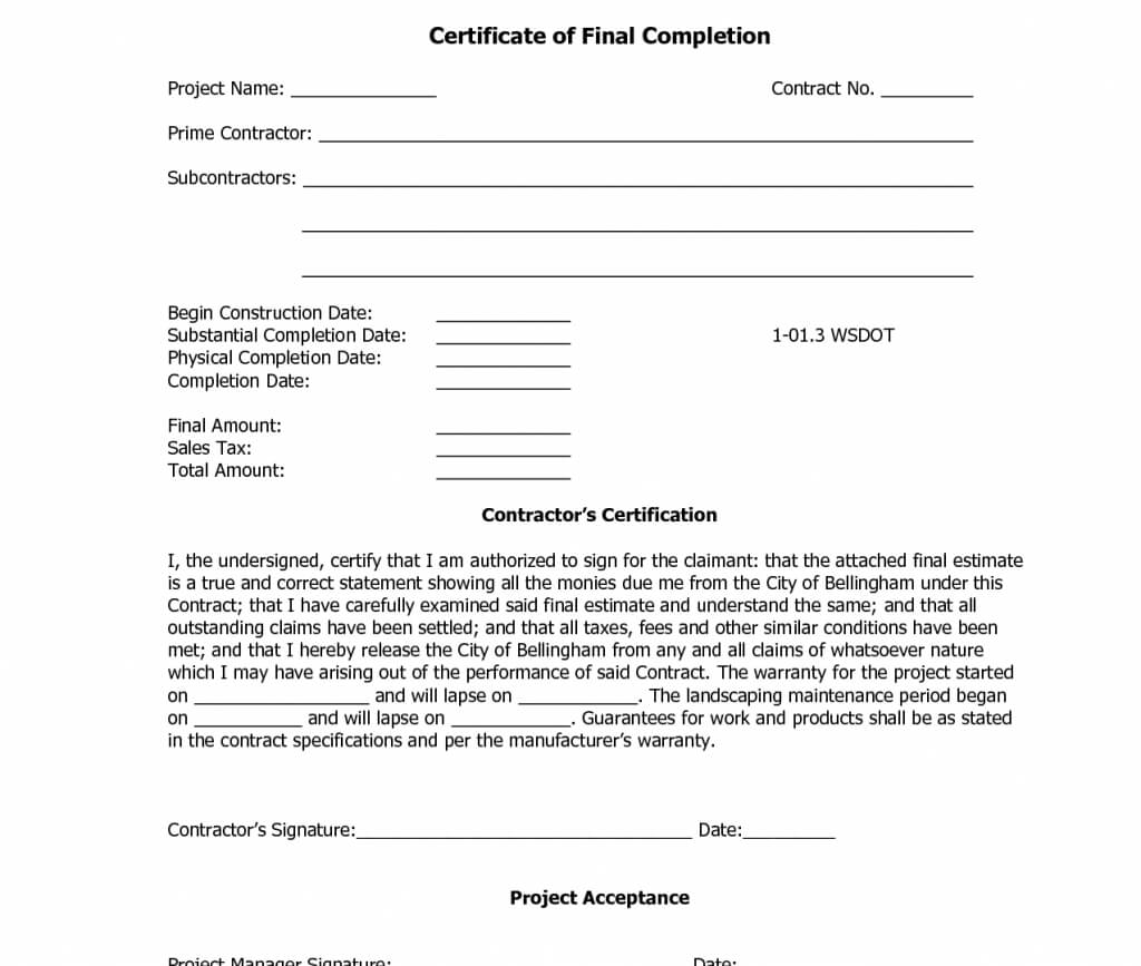12 Samples Of Certificates Of Completion | Proposal Resume in Certificate Of Substantial Completion Template
