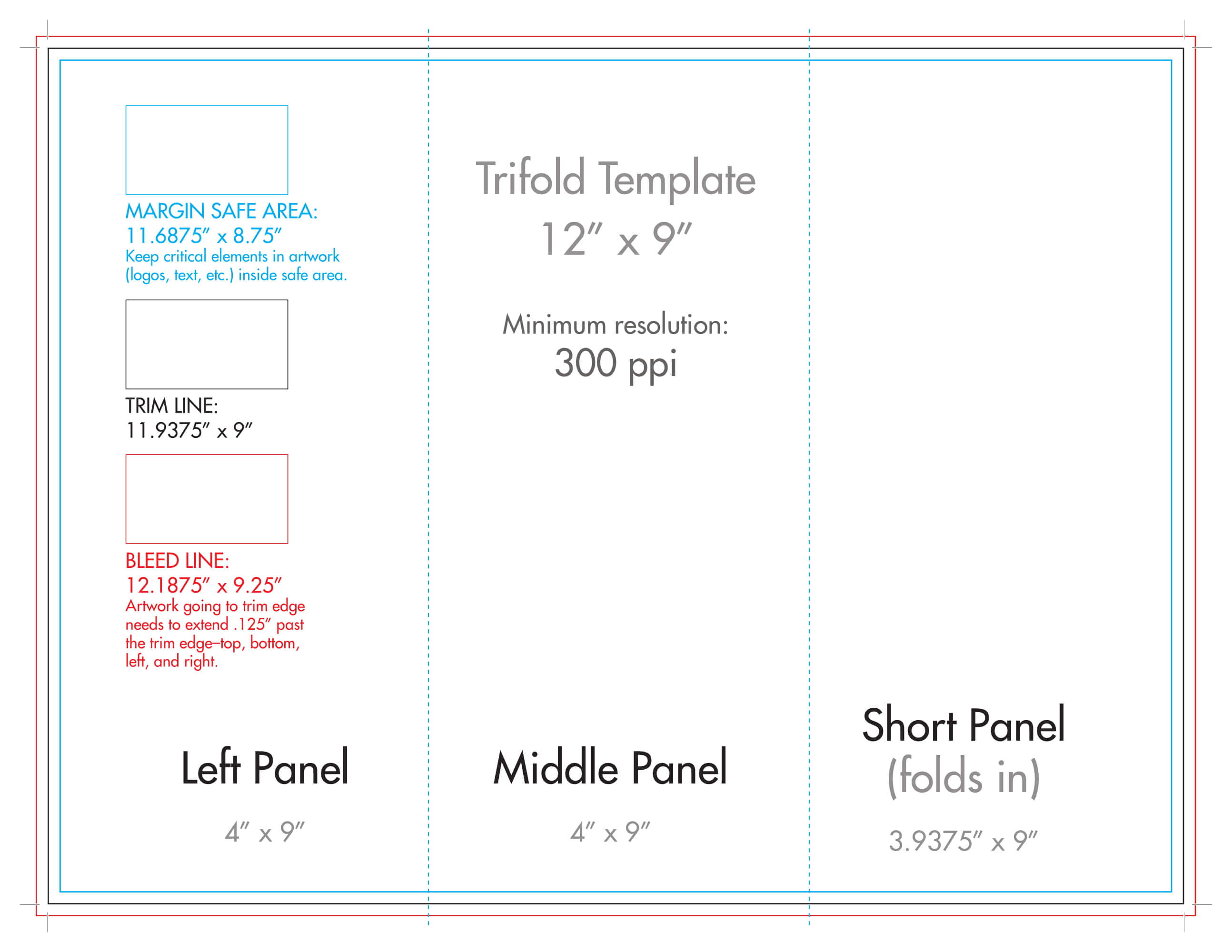 "12"" X 9"" Rack Brochure Template (Tri Fold) - U.s. Press in Three Panel Brochure Template"