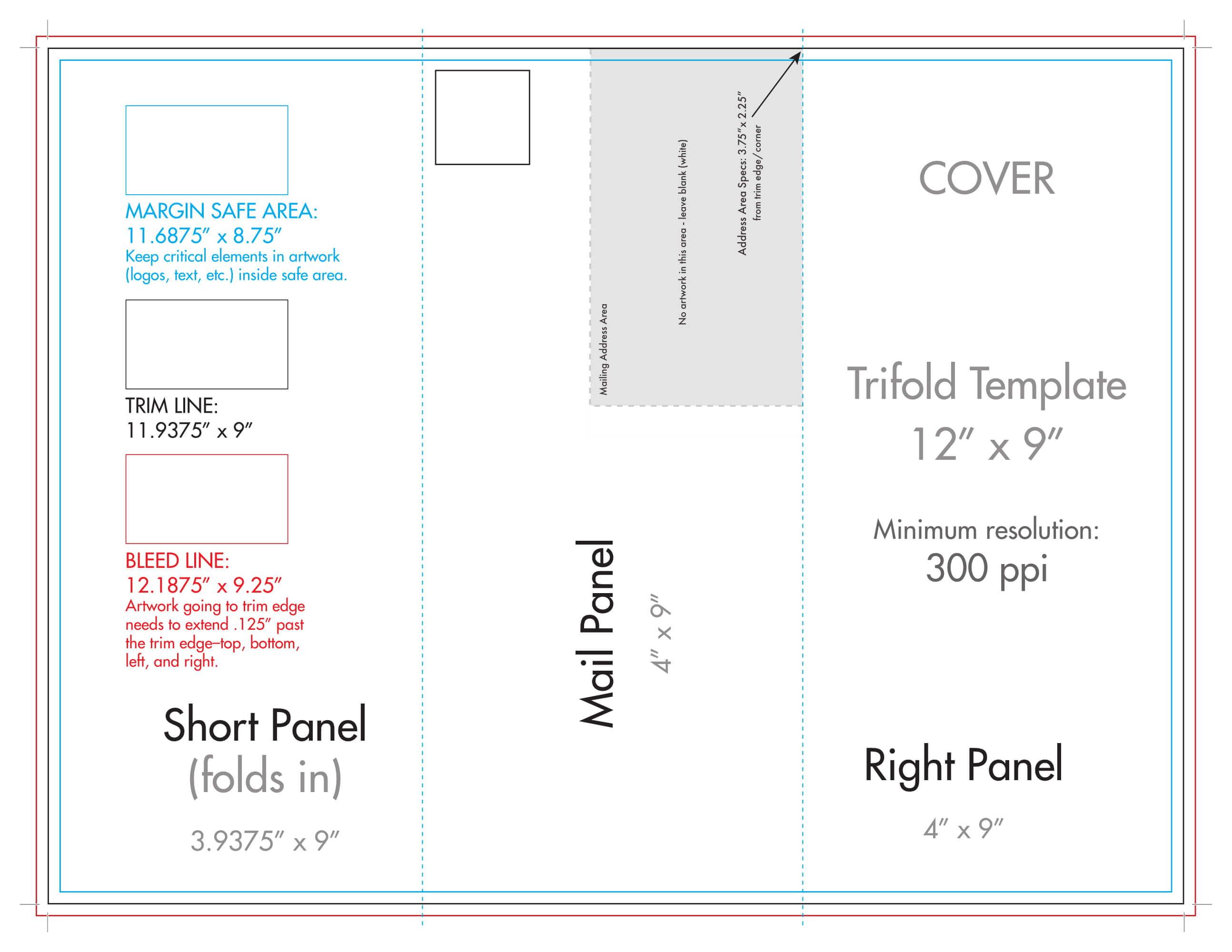 "12"" X 9"" Rack Brochure Template (Tri Fold) - U.s. Press throughout Brochure Folding Templates"
