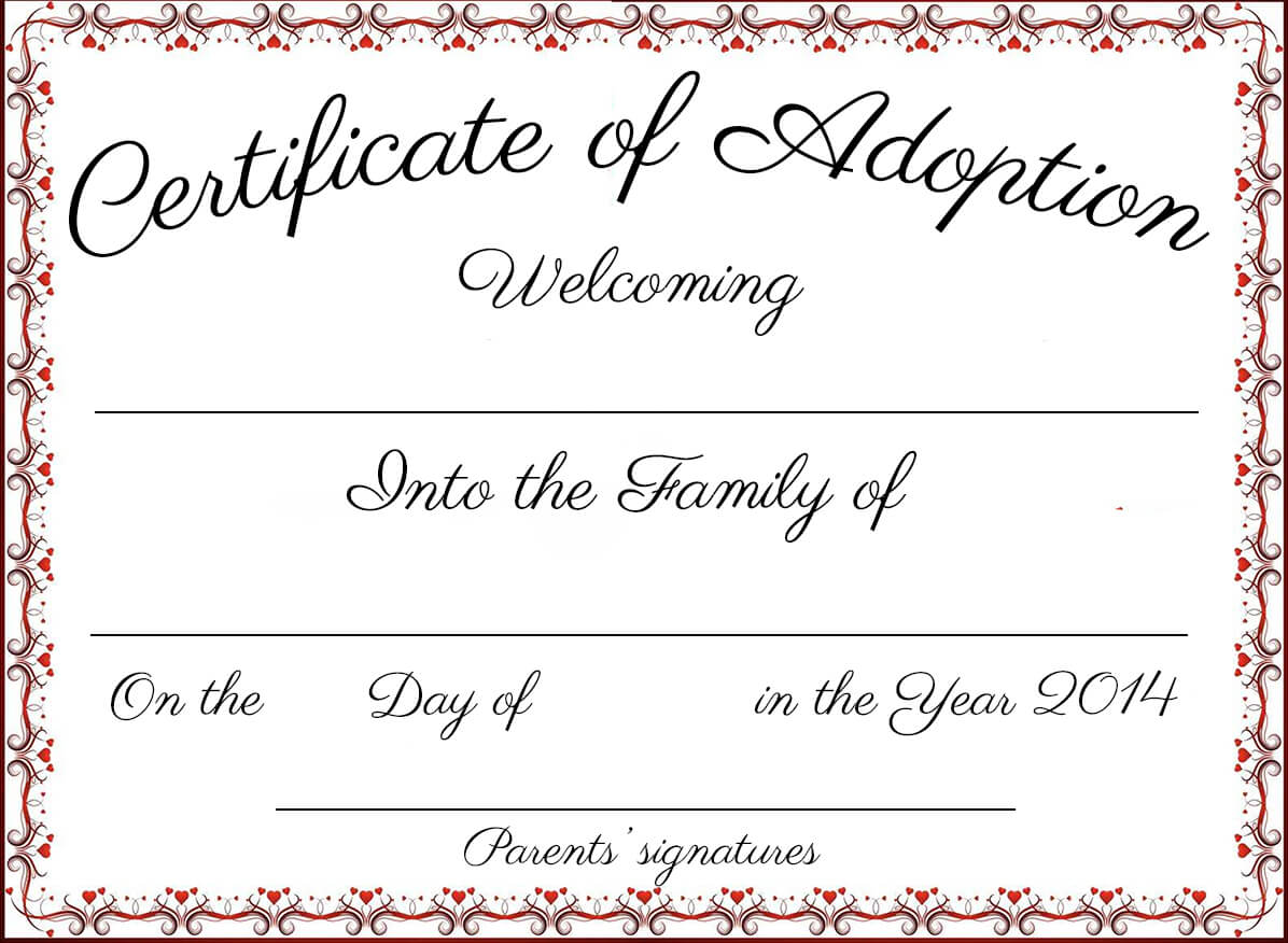 14+ Adoption Certificate Templates | Proto Politics Inside Blank Adoption Certificate Template