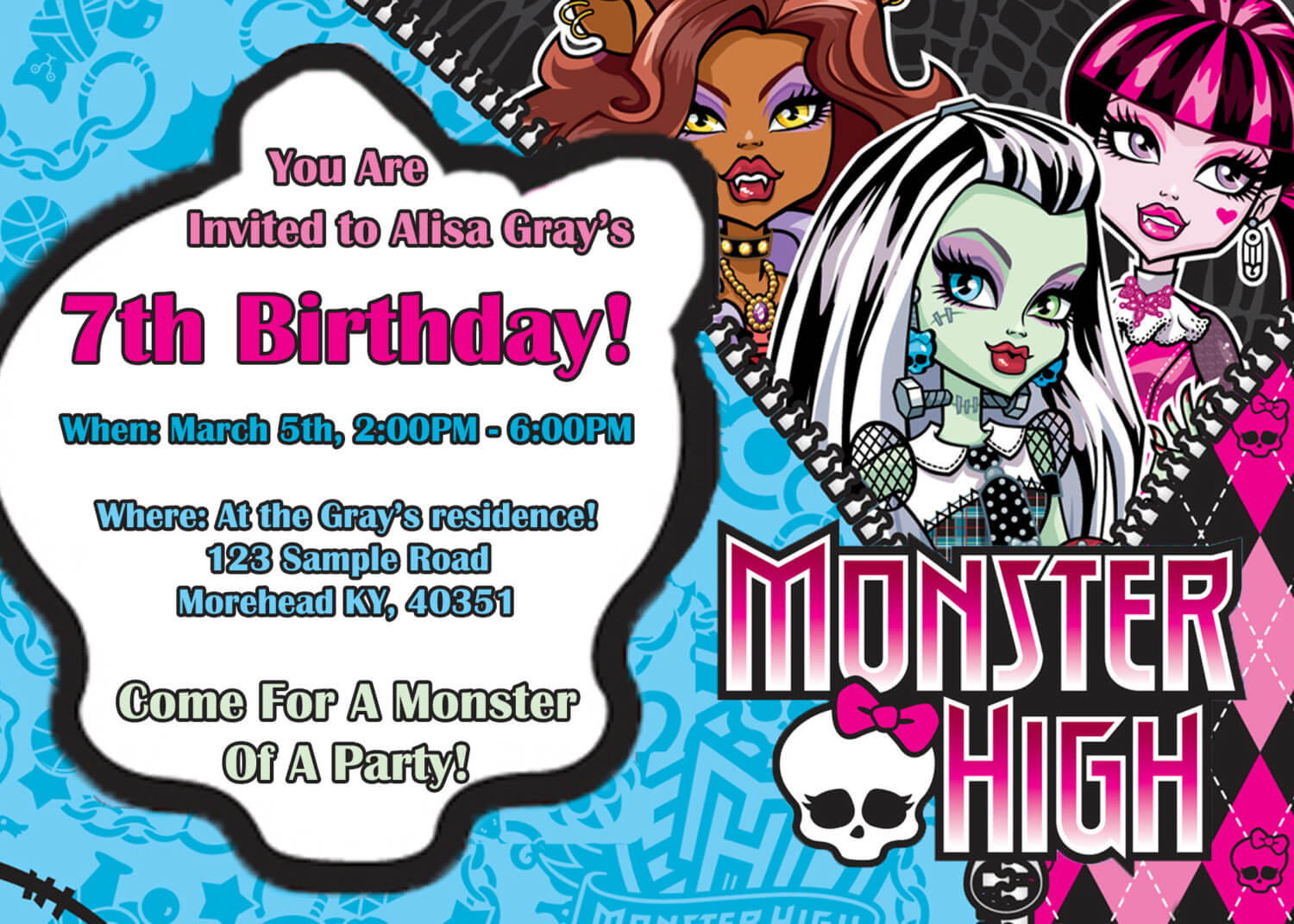 14 Best Photos Of Monster High Birthday Invitations in Monster High Birthday Card Template