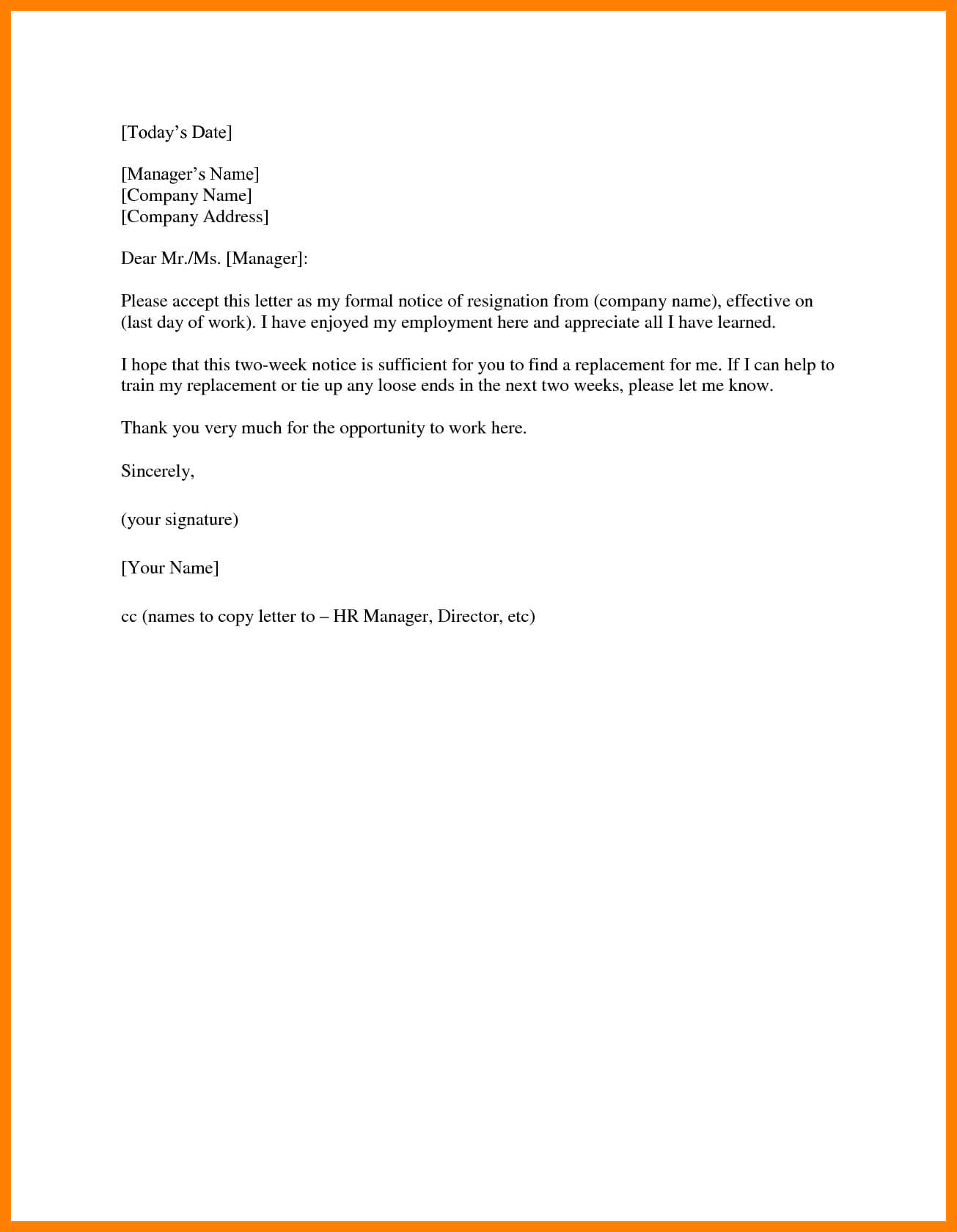 14+ Two Weeks Notice Template Word | Management-On-Call within 2 Weeks Notice Template Word