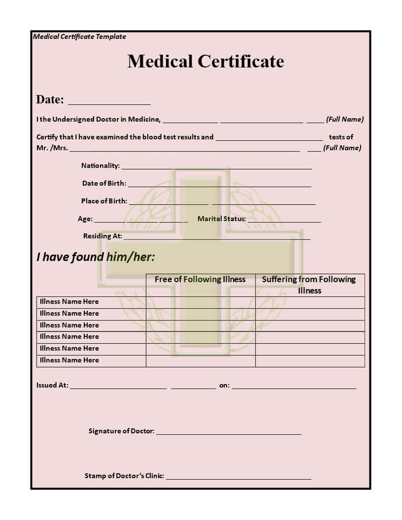 15+ Medical Certificate Templates For Sick Leave - Pdf, Docs with Fake Medical Certificate Template Download
