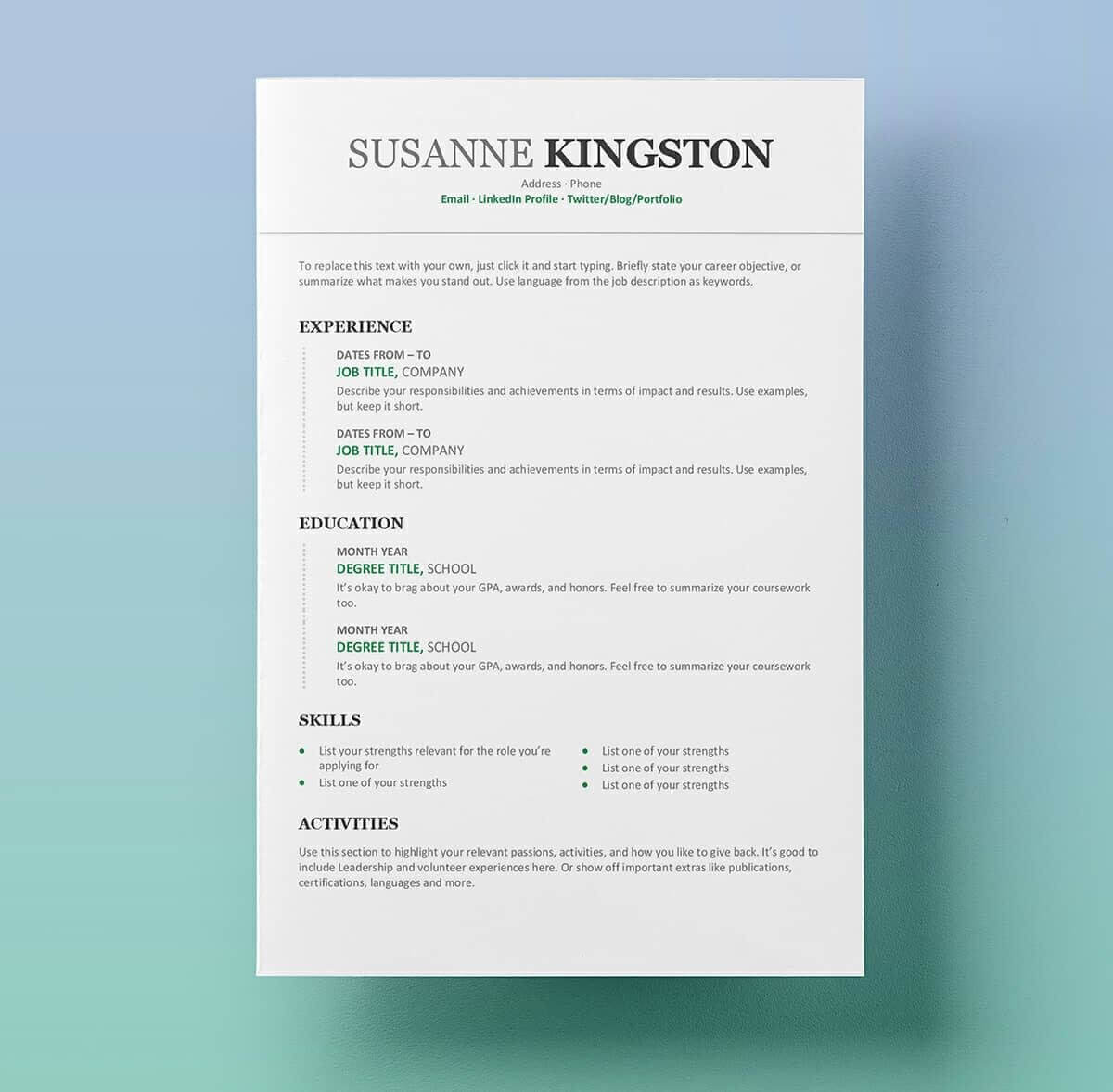15+ Resume Templates For Word (Free To Download) throughout How To Get A Resume Template On Word
