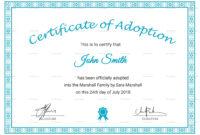 16+ Adoption Certificate Sample   Resume Pdf inside Adoption Certificate Template