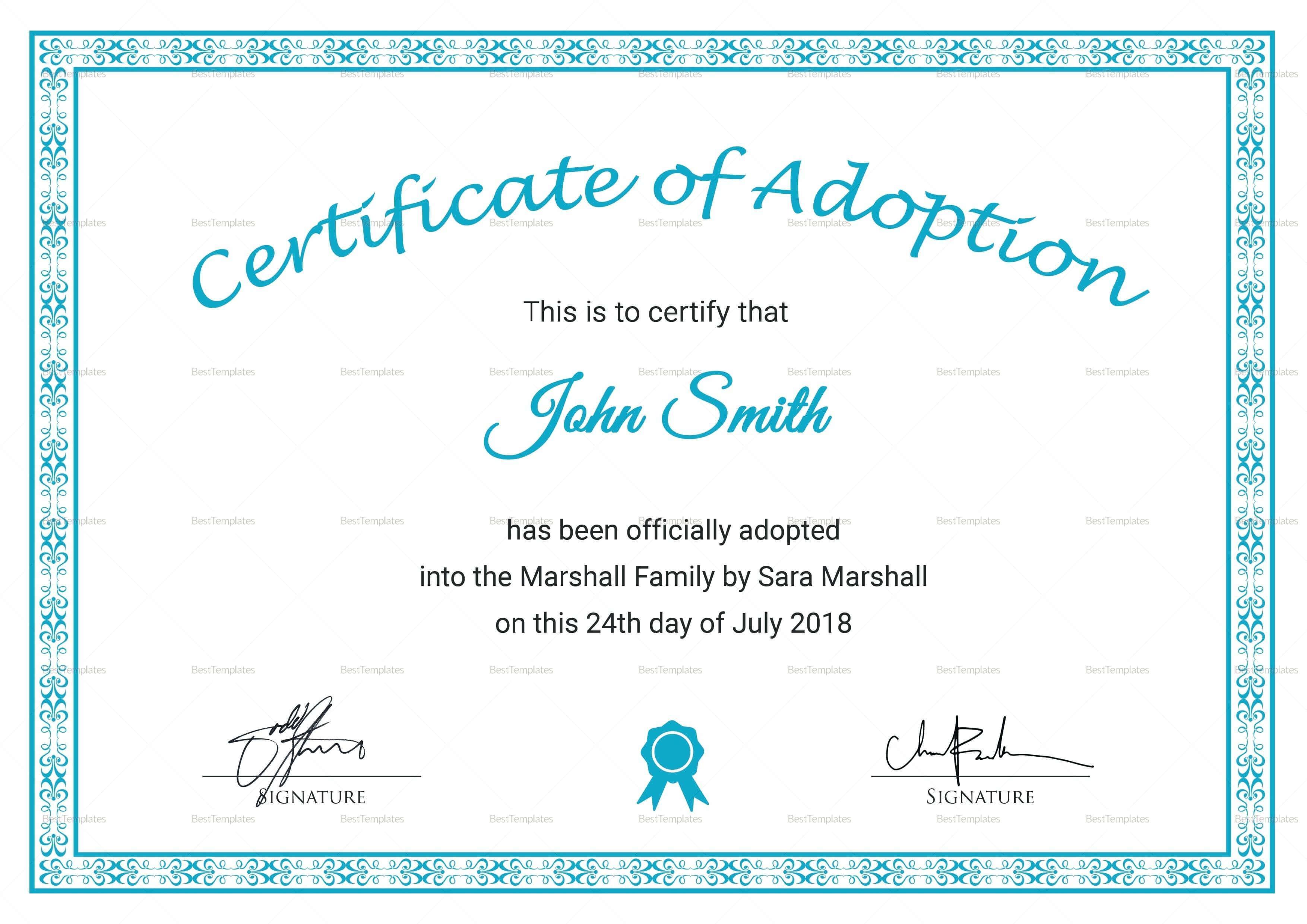 16+ Adoption Certificate Sample | Resume Pdf inside Adoption Certificate Template
