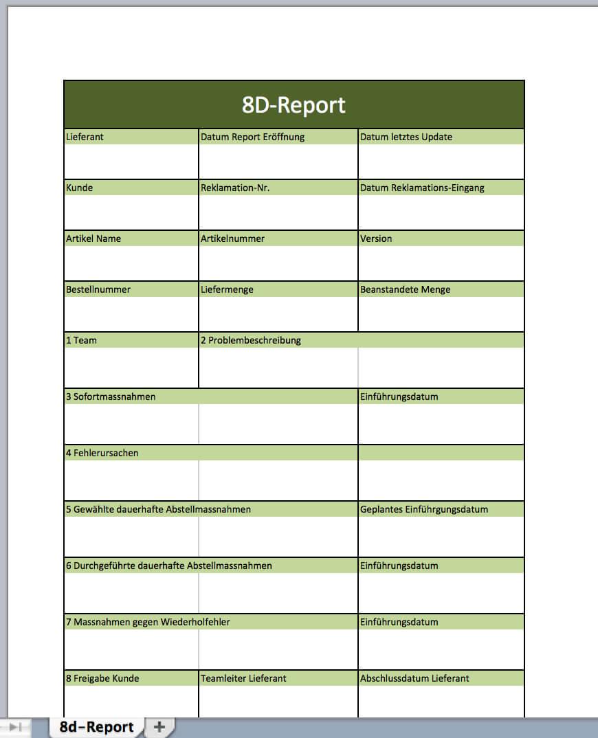 17. 8D Report Vorlage Word Herunterladen 8D Report Vorlage Regarding 8D Report Template Xls