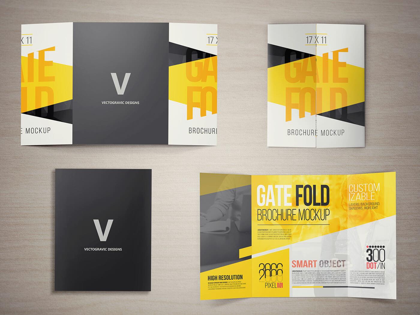 17 X 11 Gate Fold Brochure Mockup On Behance in Gate Fold Brochure Template