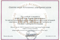 18Th International Conference On Education, Learning And within Conference Certificate Of Attendance Template
