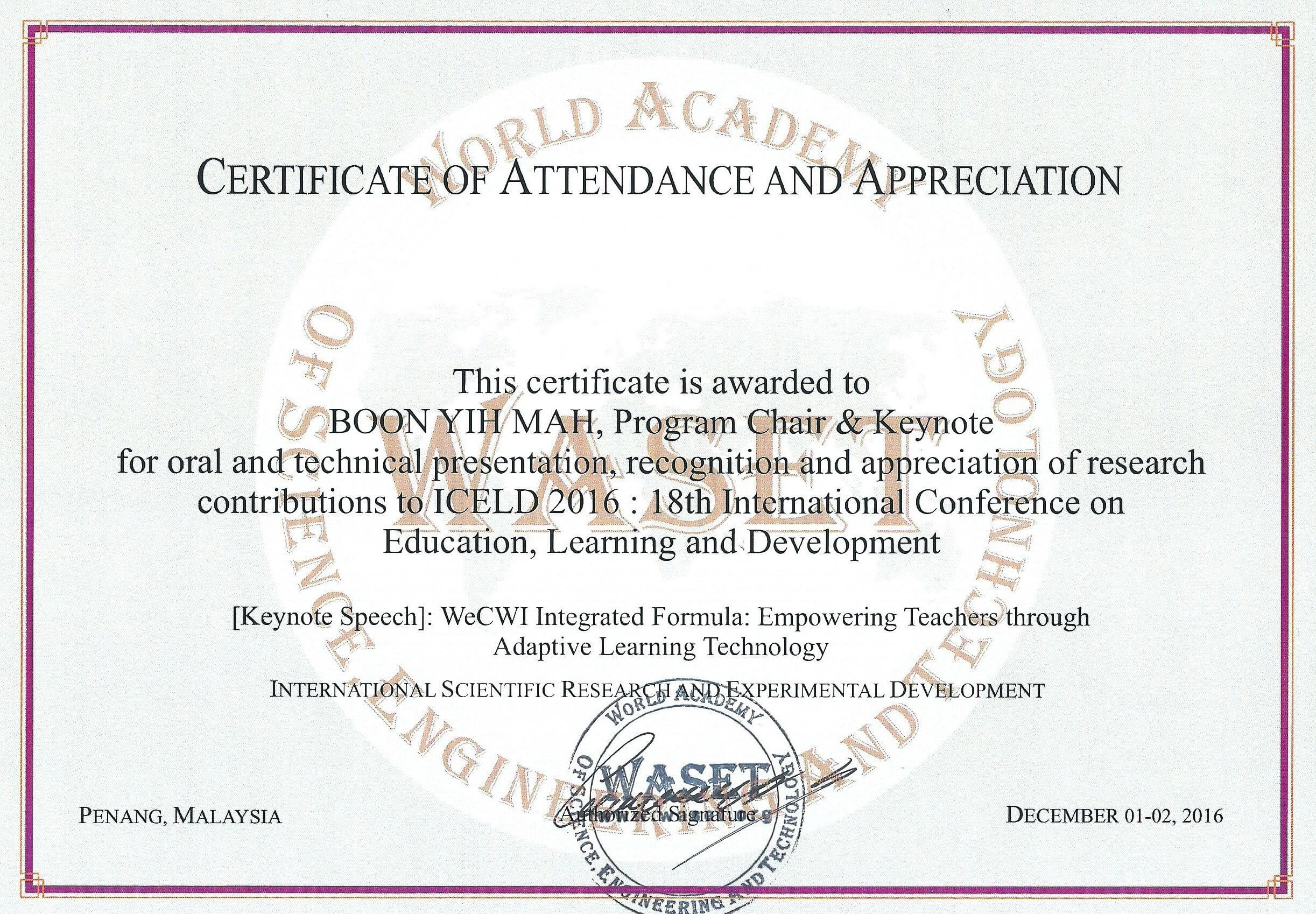 18Th International Conference On Education, Learning And within International Conference Certificate Templates