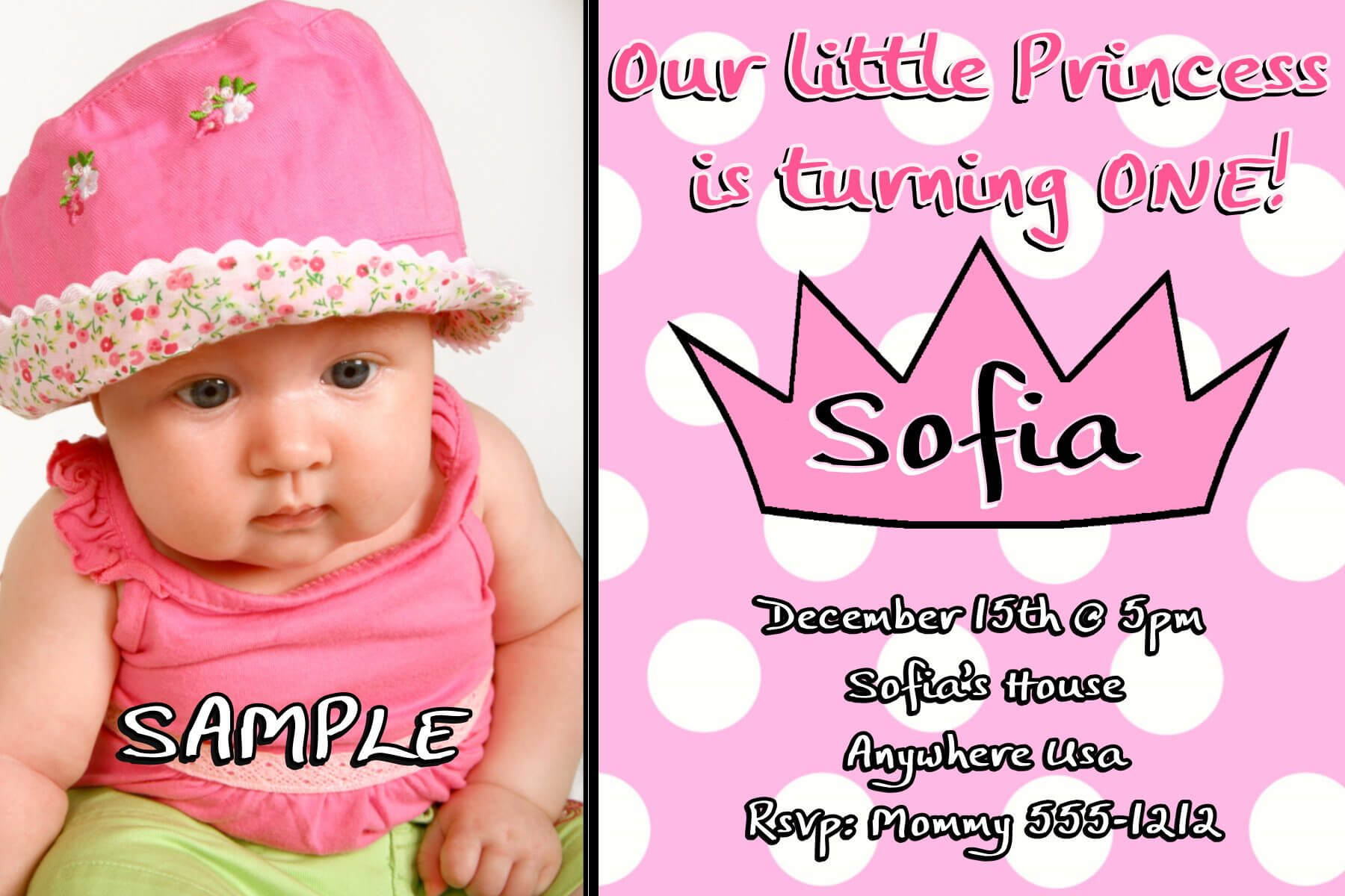 1St Birthday Invitation Card Template | Theveliger with First Birthday Invitation Card Template