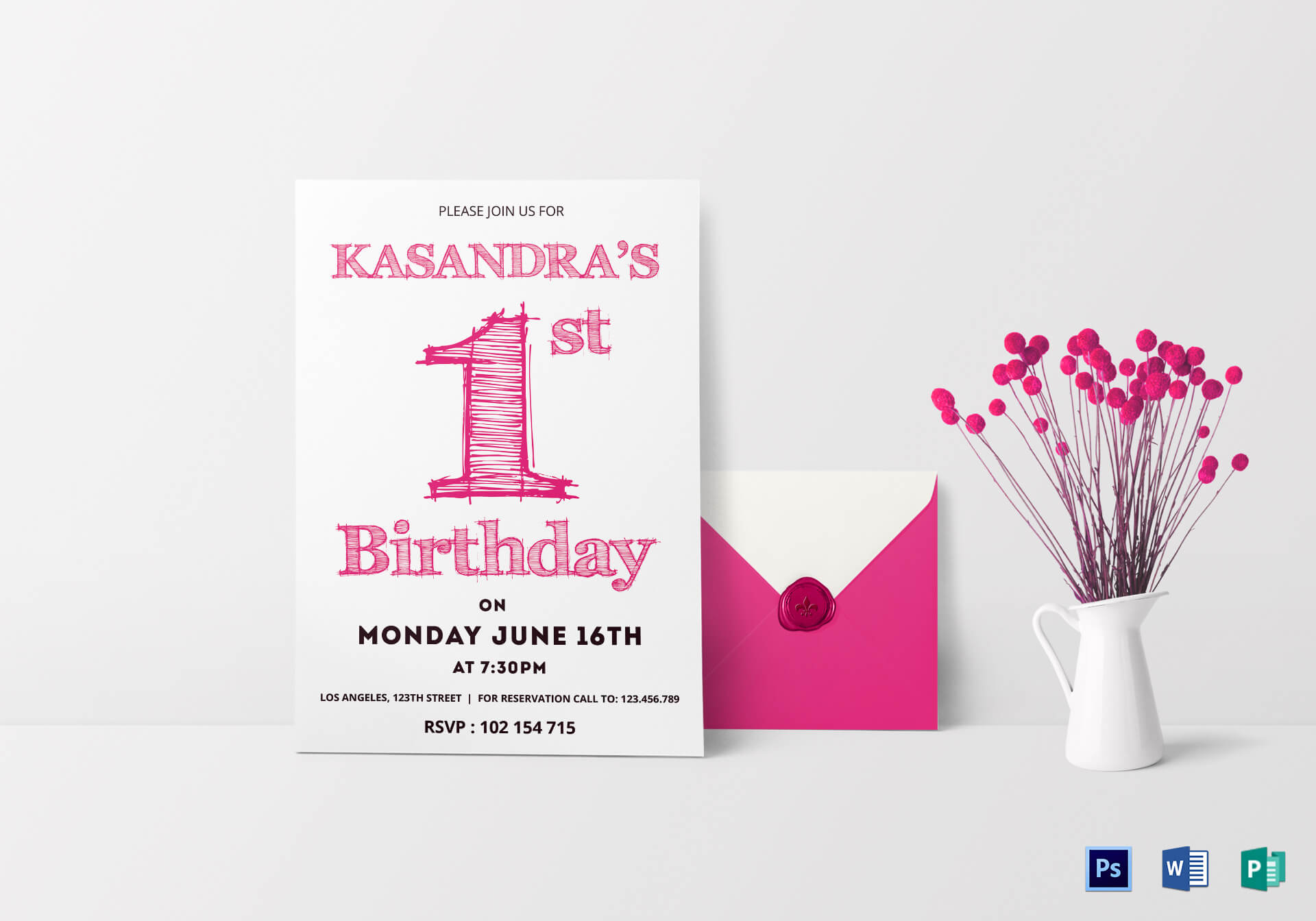 1St Birthday Party Invitation Card Template Inside Birthday Card Publisher Template