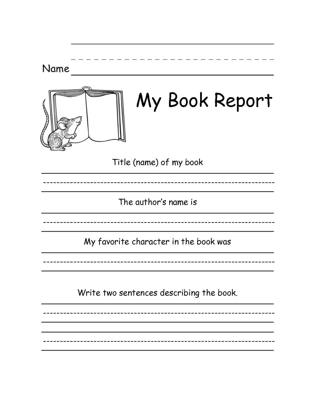 1St Grade Book Report Template - Atlantaauctionco With Regard To 1St Grade Book Report Template