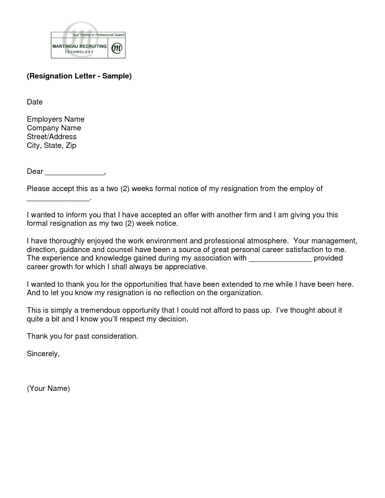 2 Week Letter - Tosya.magdalene-Project with regard to 2 Weeks Notice Template Word