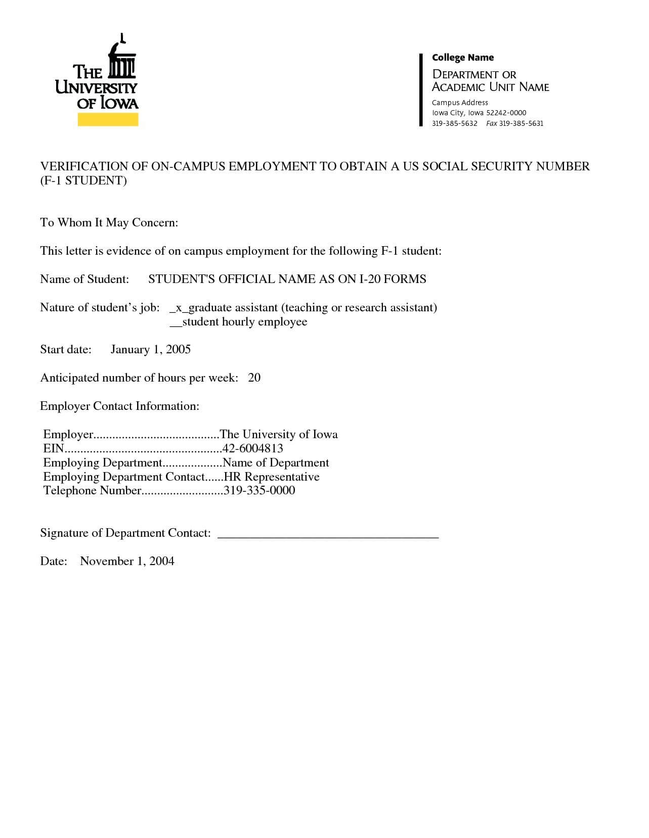 20 Sample Of Job Confirmation Letter From Employer Valid For Employment Verification Letter Template Word
