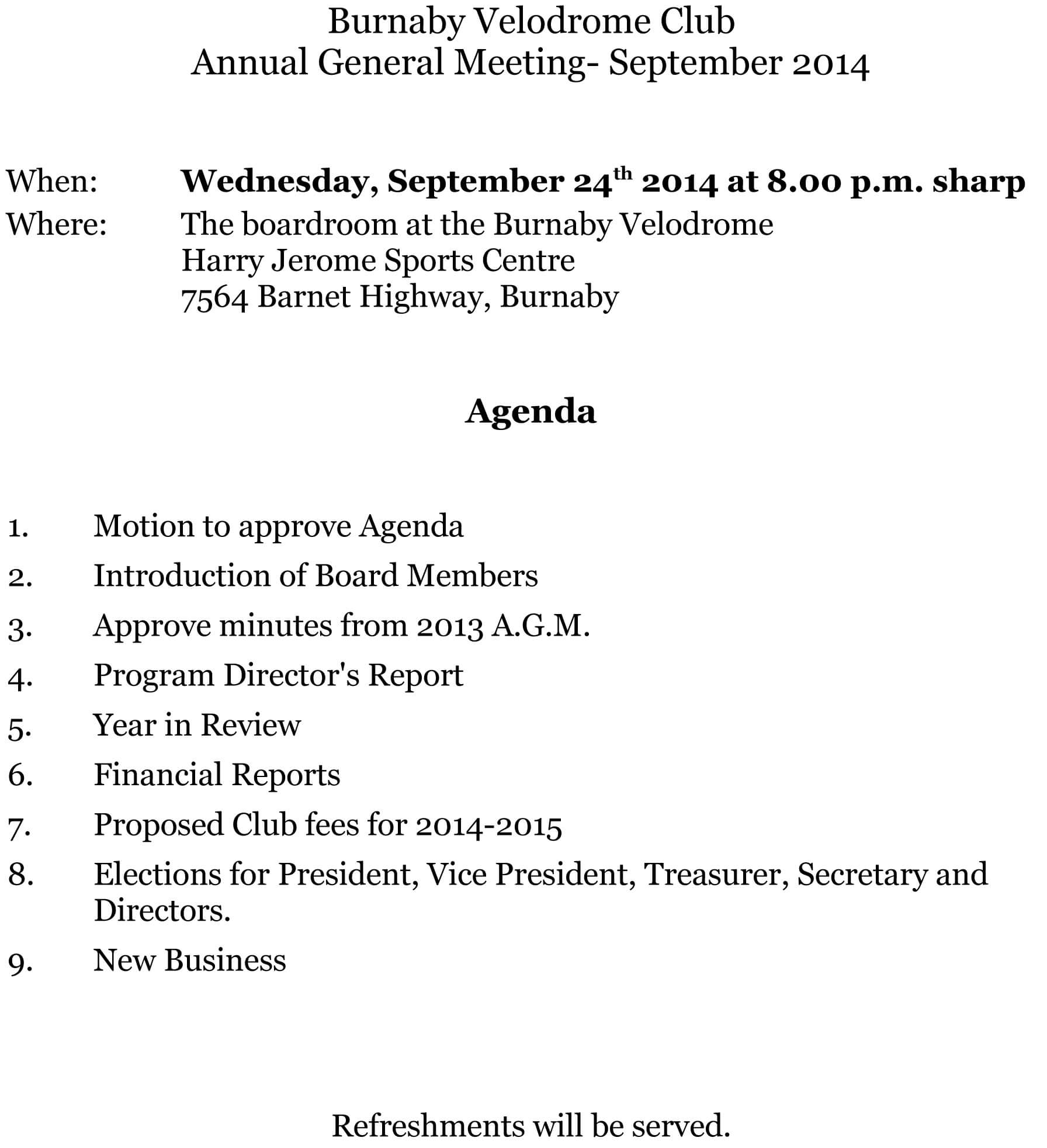 2014 Annual General Meeting - Burnaby Velodrome Club pertaining to Treasurer's Report Agm Template