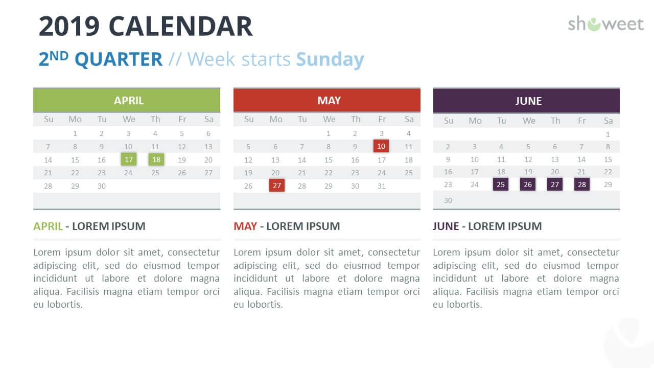 2019 Calendar Powerpoint Templates In Microsoft Powerpoint Calendar Template