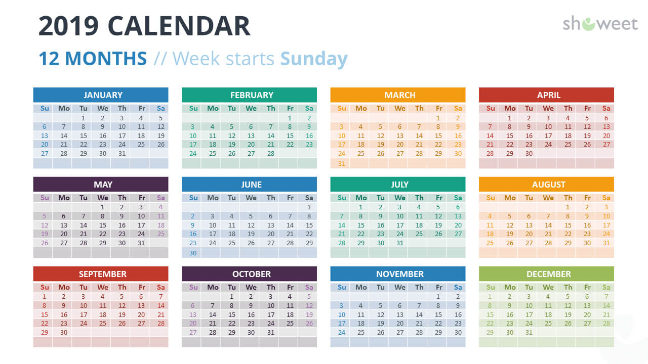 2019 Calendar Powerpoint Templates intended for Powerpoint Calendar Template 2015