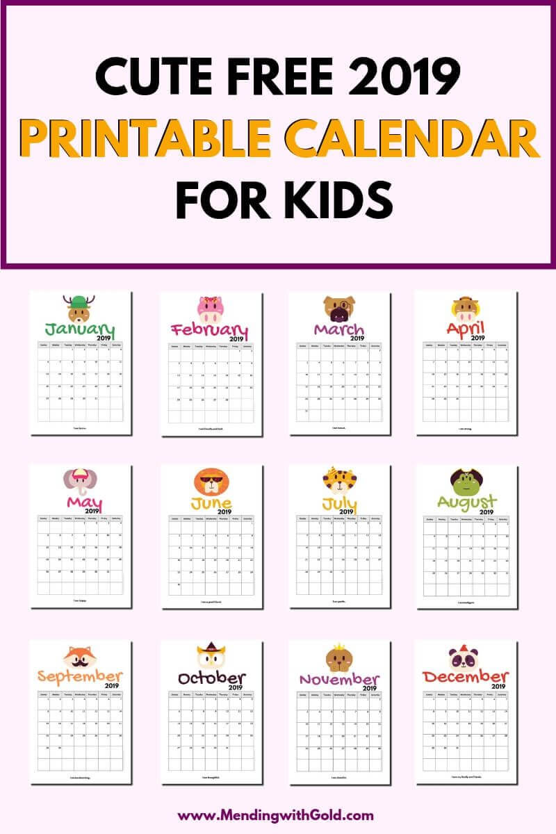 2019 Free Printable Calendar For Kids ('cause Children Love Throughout Blank Calendar Template For Kids