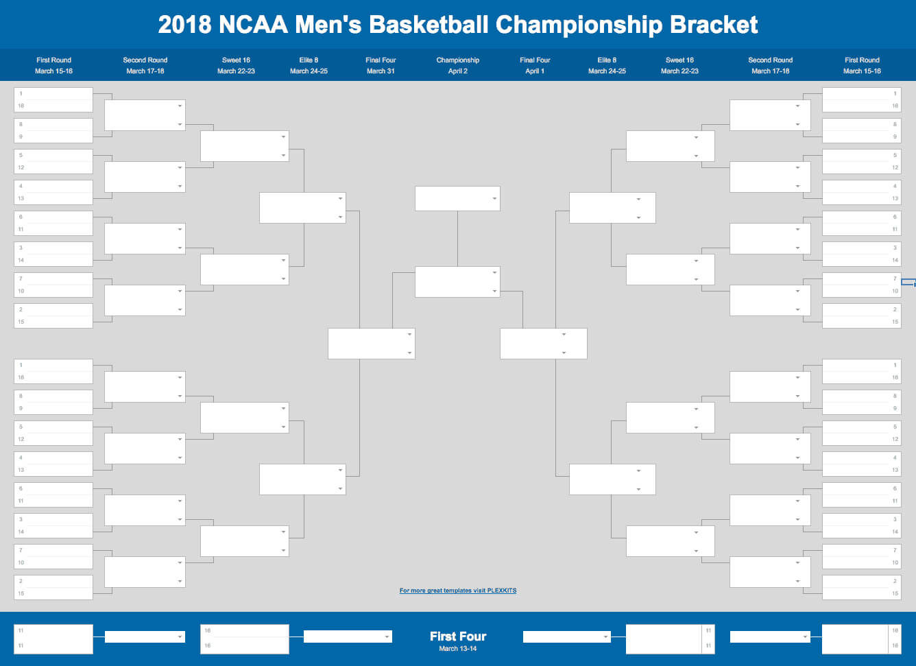 2019 March Madness Bracket (Excel And Google Sheets Template) with Blank March Madness Bracket Template