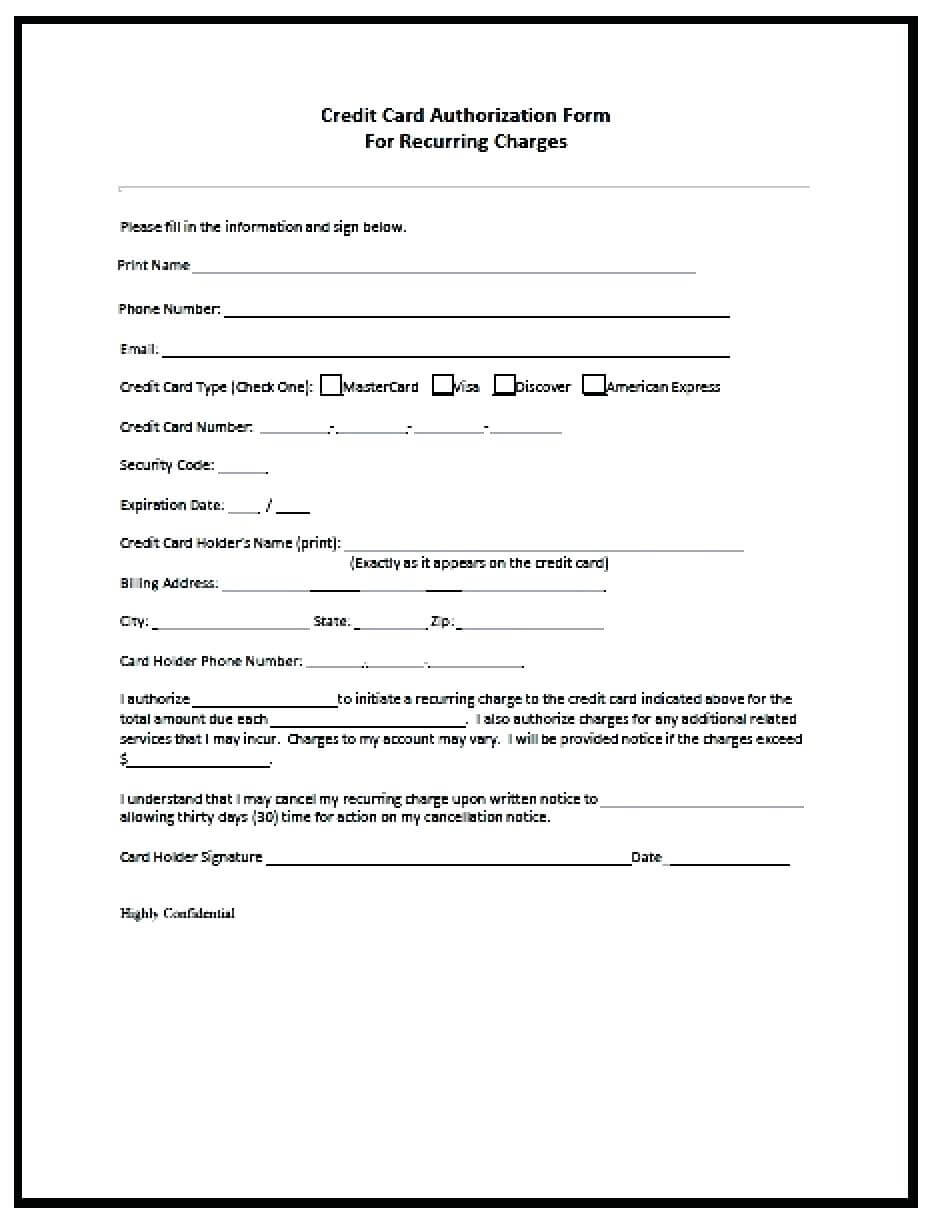 21+ Credit Card Authorization Form Template Pdf Fillable 2019!! inside Credit Card Billing Authorization Form Template