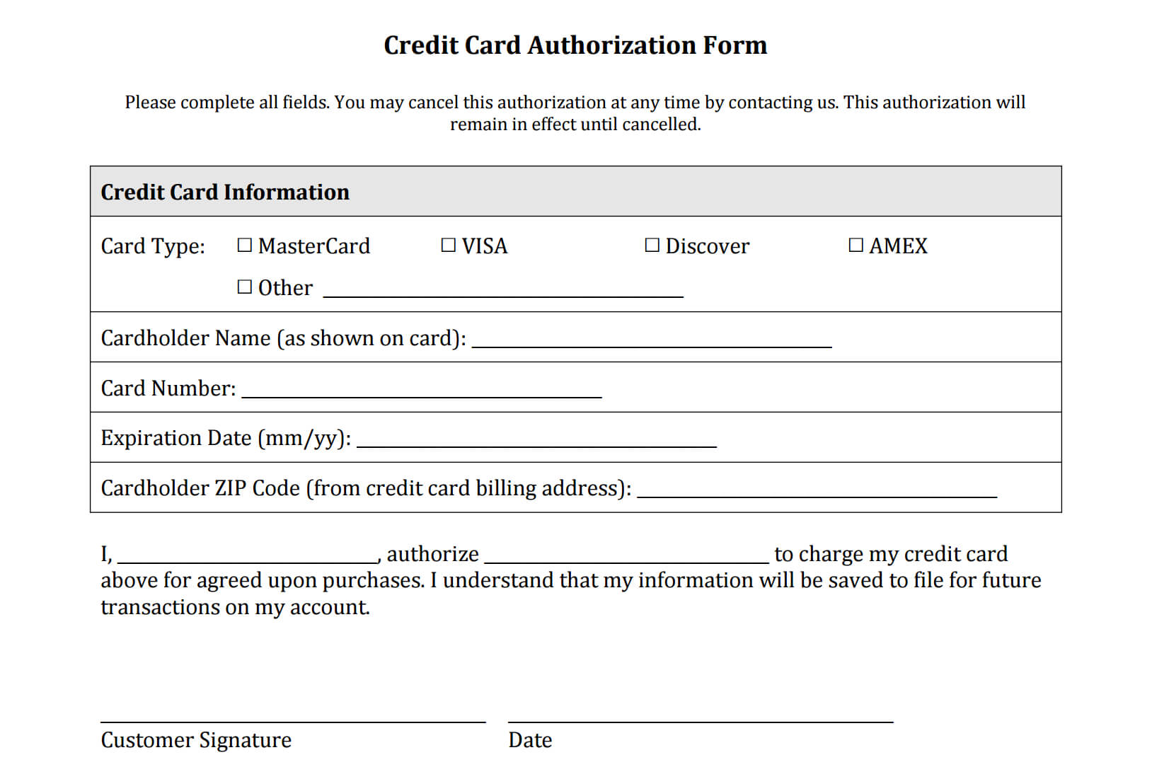 21+ Credit Card Authorization Form Template Pdf Fillable 2019!! With Credit Card Billing Authorization Form Template