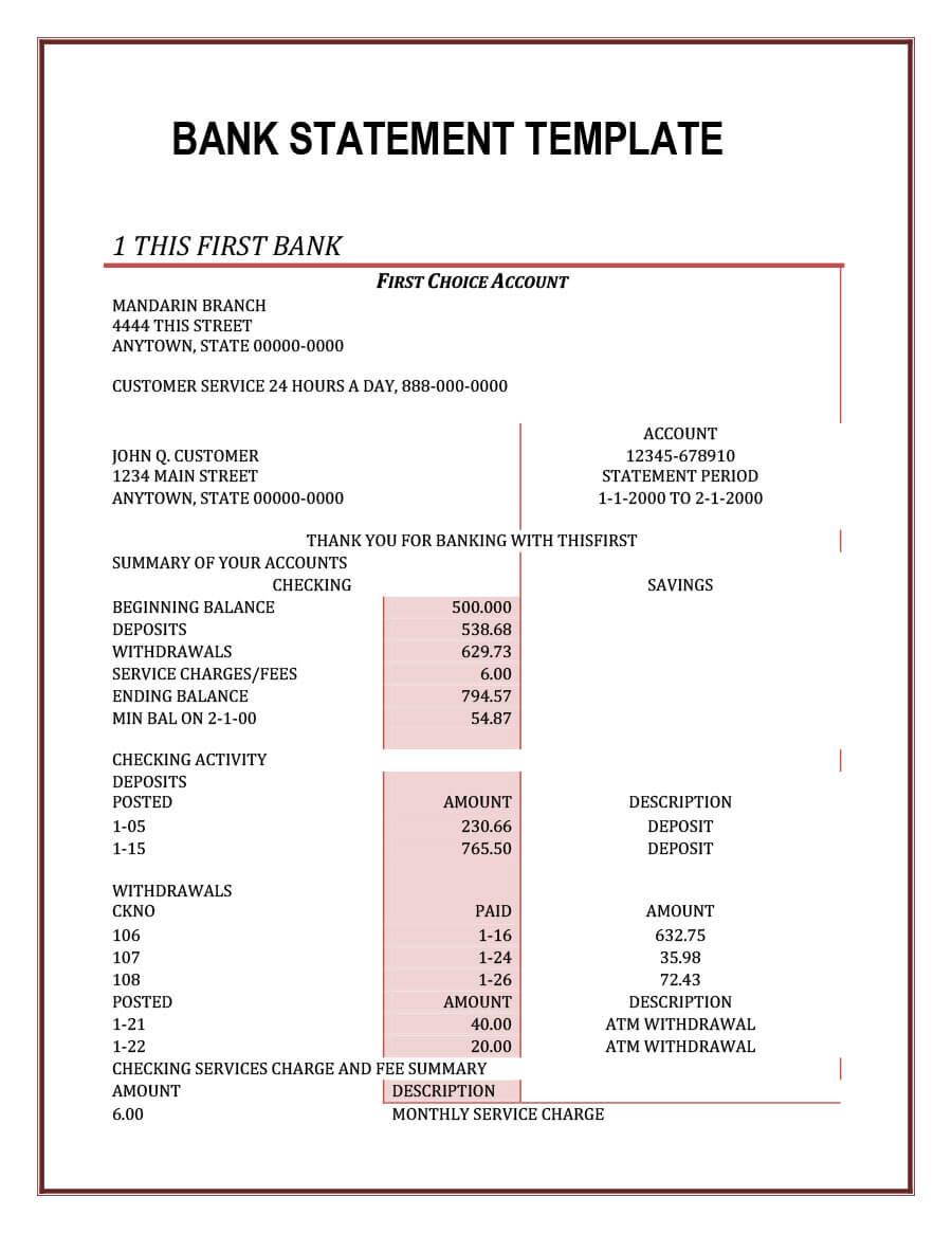 23 Editable Bank Statement Templates [Free] ᐅ Template Lab regarding Blank Bank Statement Template Download