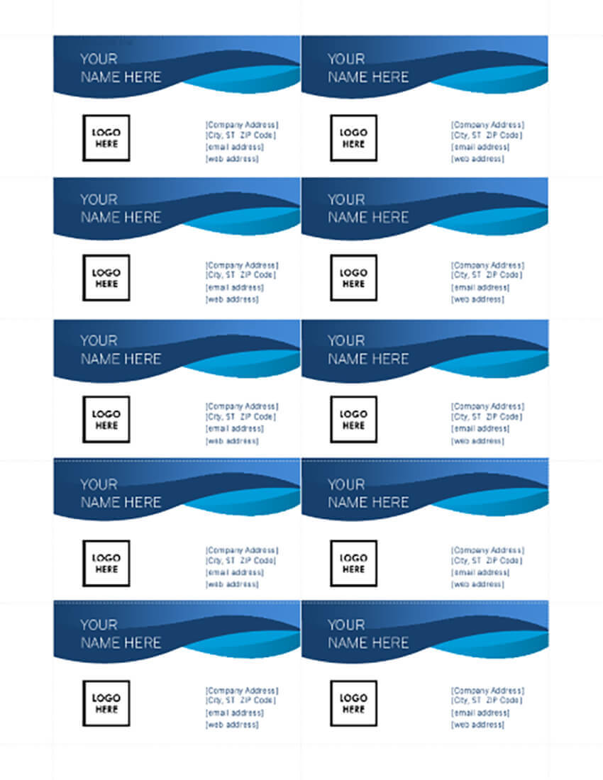25+ Free Microsoft Word Business Card Templates (Printable Intended For Microsoft Office Business Card Template