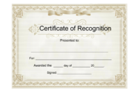 25 Useful Resources Of Certificate Of Recognition Template Inside Sample Certificate Of Recognition Template