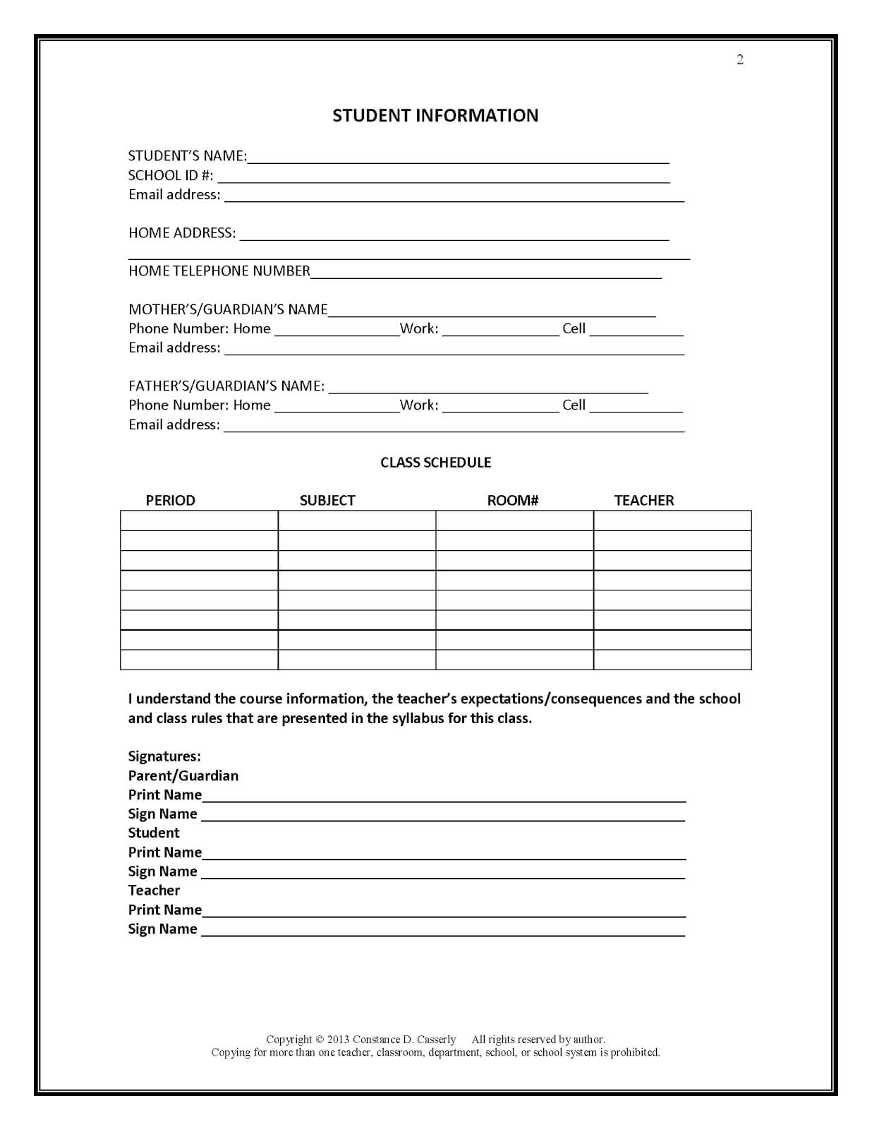 27 Images Of Student Information Form Template | Bfegy With Inside Student Information Card Template