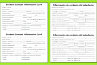 28 Images Of School Contact Card Template | Zeept throughout Student Information Card Template