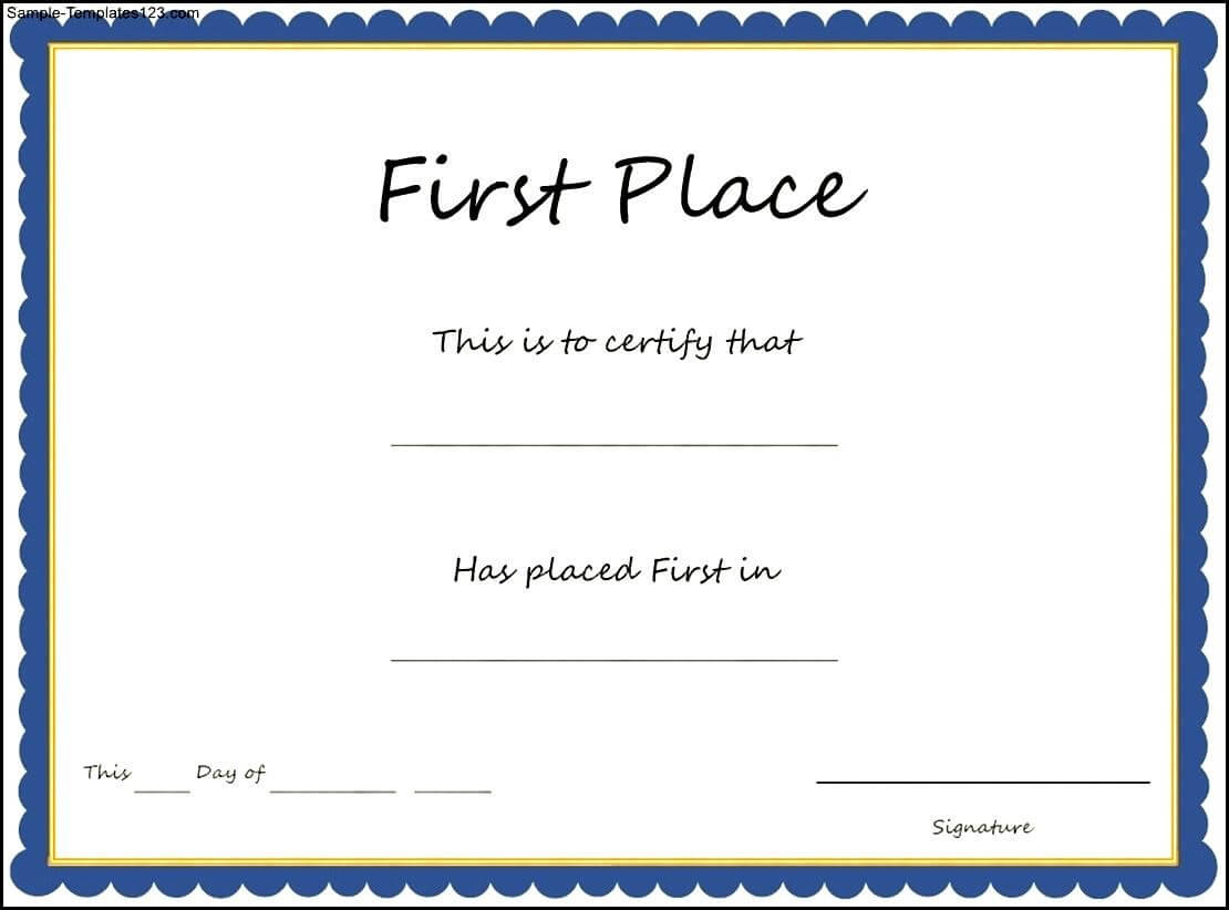 29 Images Of First Place Award Template | Linaca throughout First Place Award Certificate Template
