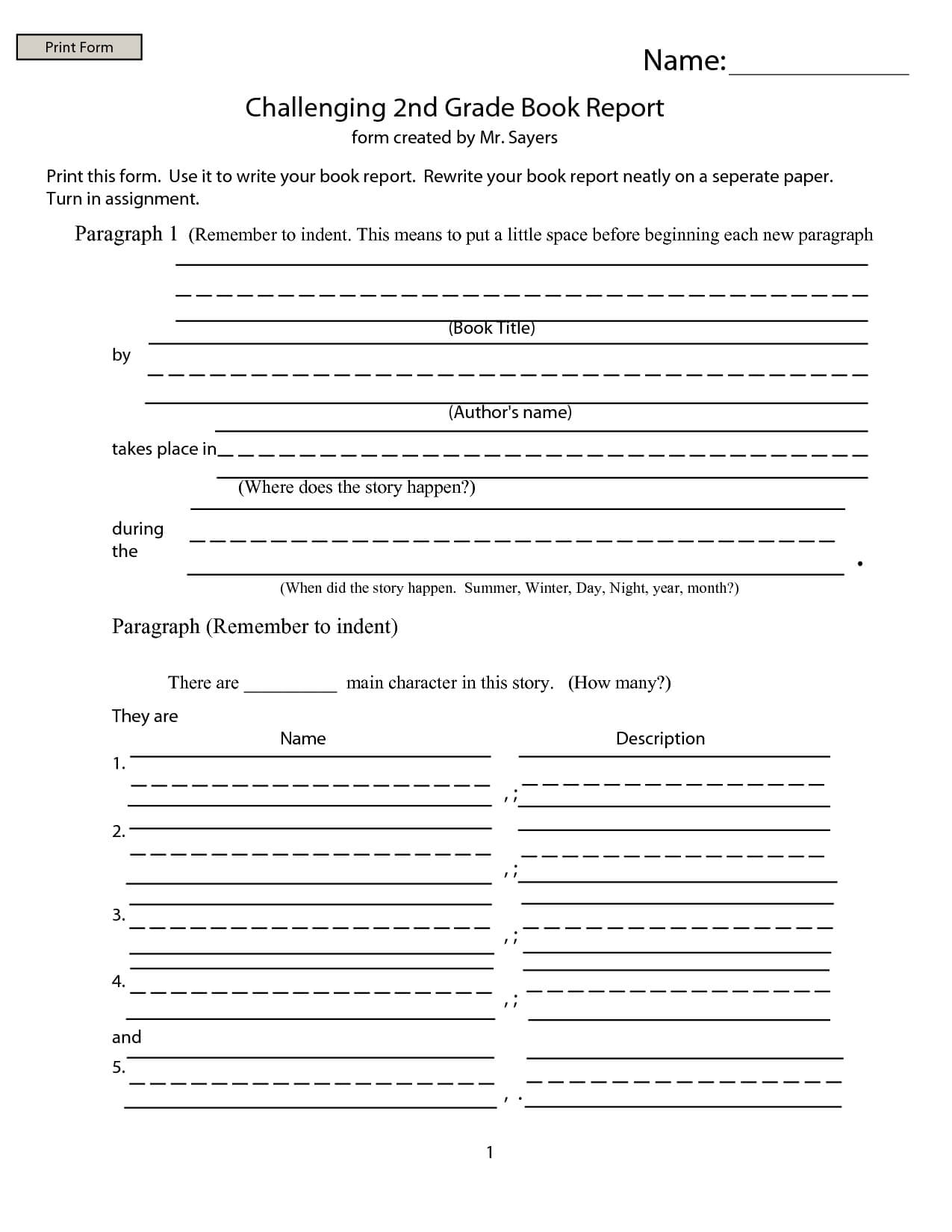 2Nd Grade Book Report – Google Search | Abc123 Intended For 2Nd Grade Book Report Template