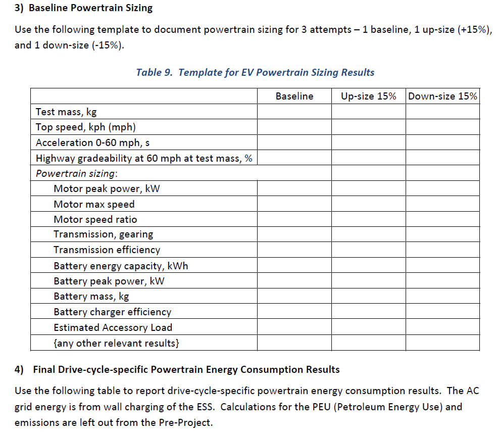 3) Baseline Powertrain Sizing Use The Following Te pertaining to Baseline Report Template