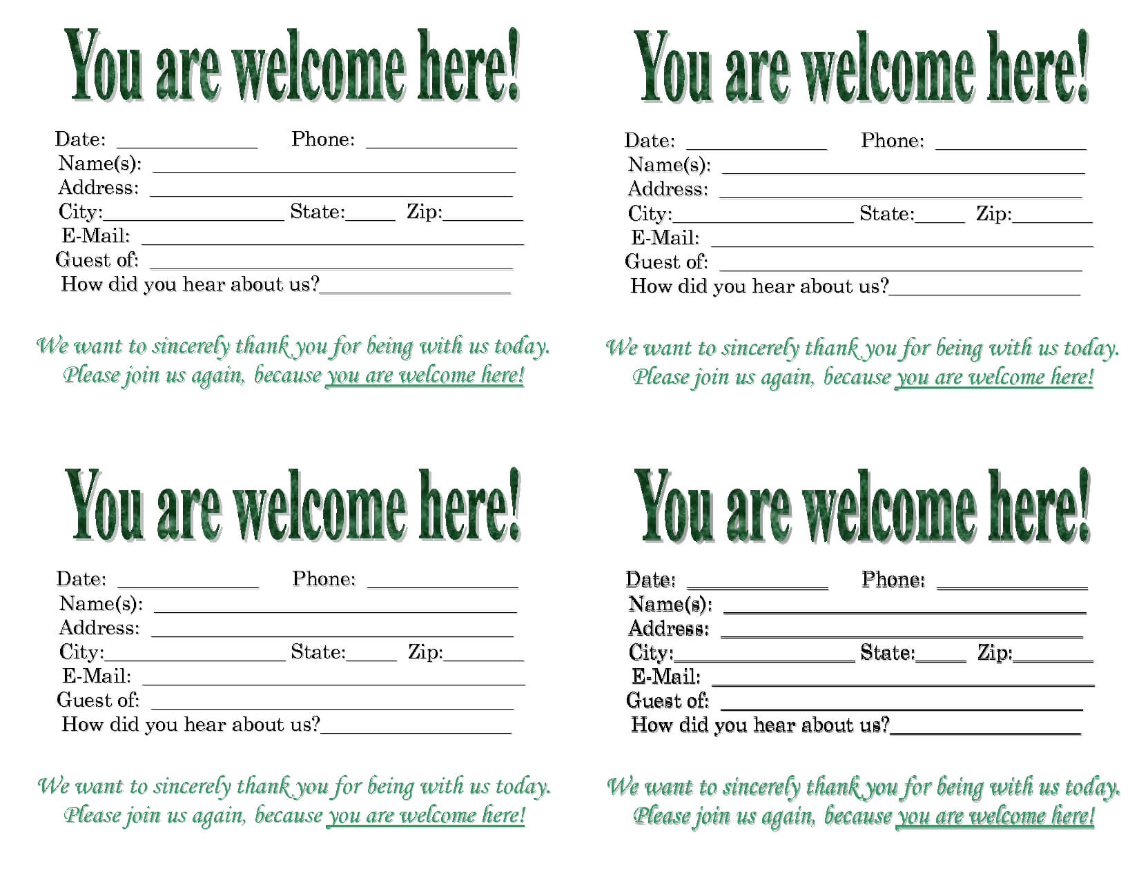 3 Best Images Of Church Visitor Card Template - Church For Church Visitor Card Template Word