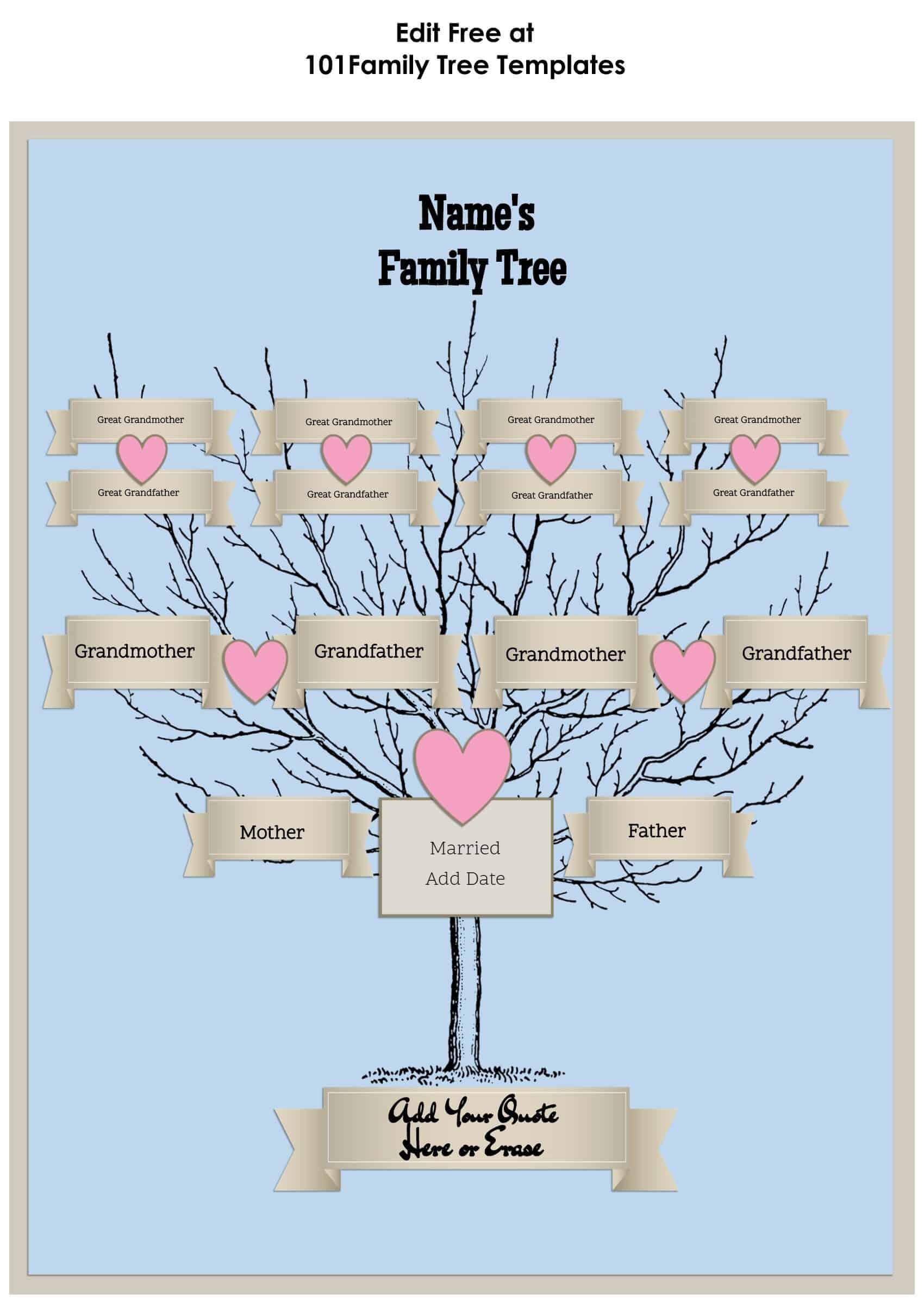 3 Generation Family Tree Generator | All Templates Are Free Intended For Blank Family Tree Template 3 Generations
