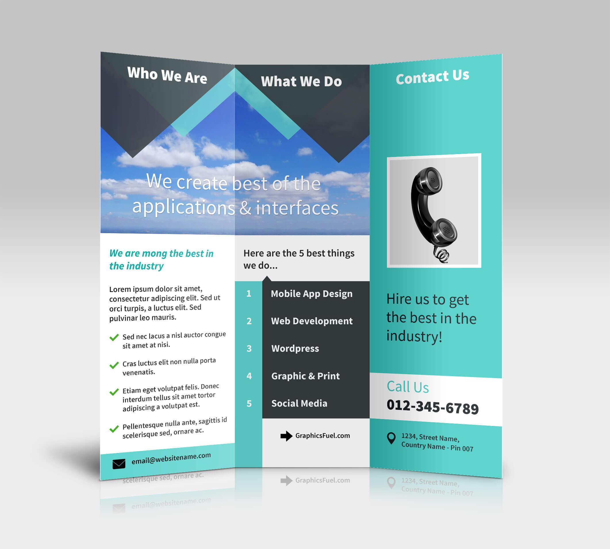 3 Panel Tri Fold Brochure Psd Mockups - Psd Mockups pertaining to Three Panel Brochure Template