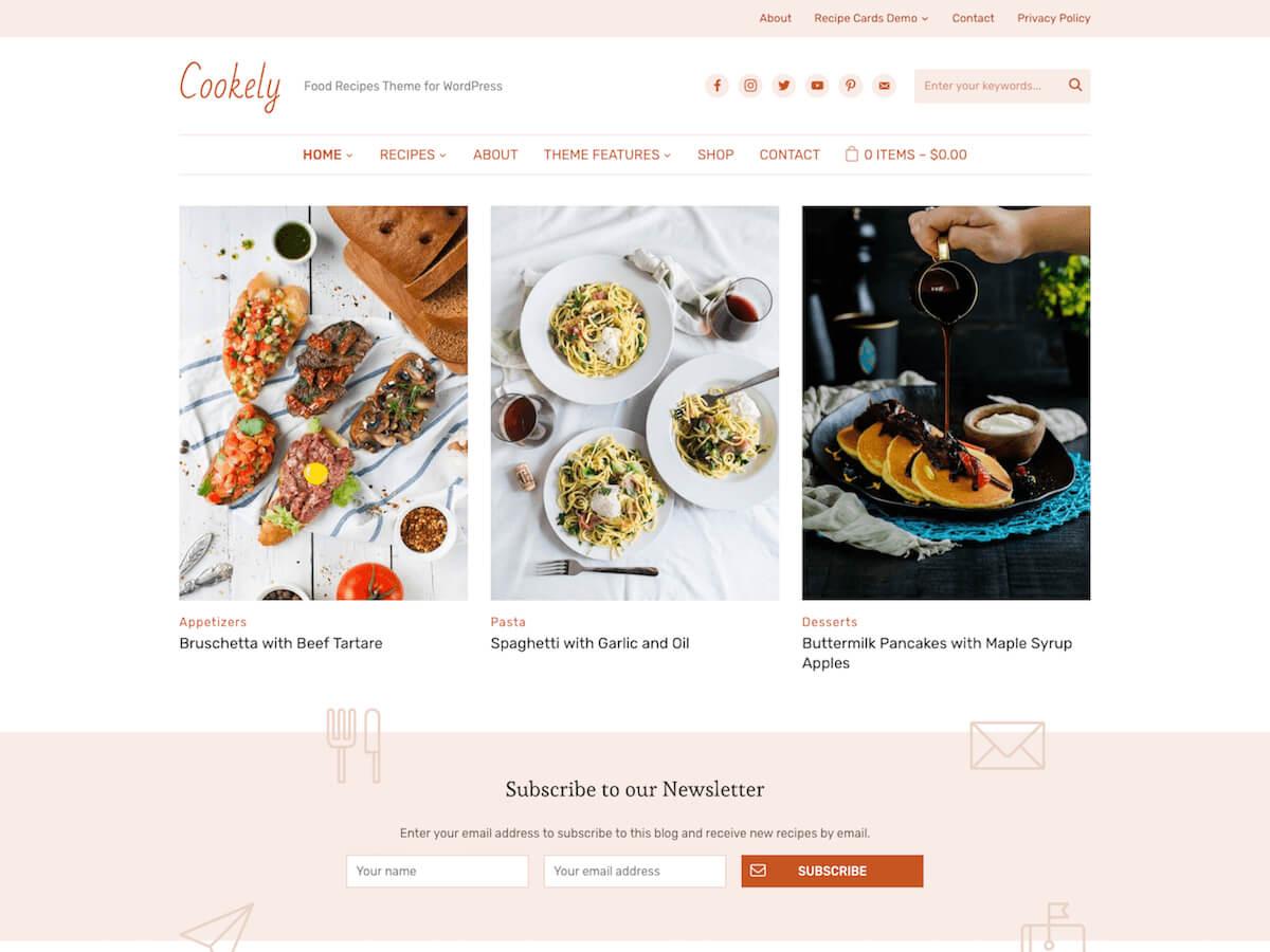 30+ Best Food Wordpress Themes For Sharing Recipes 2019 regarding Blank Food Web Template