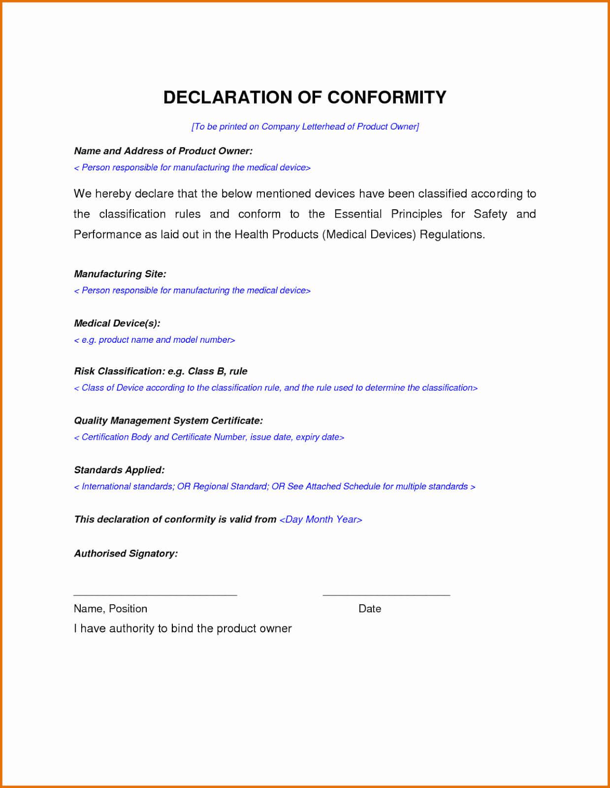 30 Certificate Of Conformance Template | Pryncepality inside Certificate Of Manufacture Template