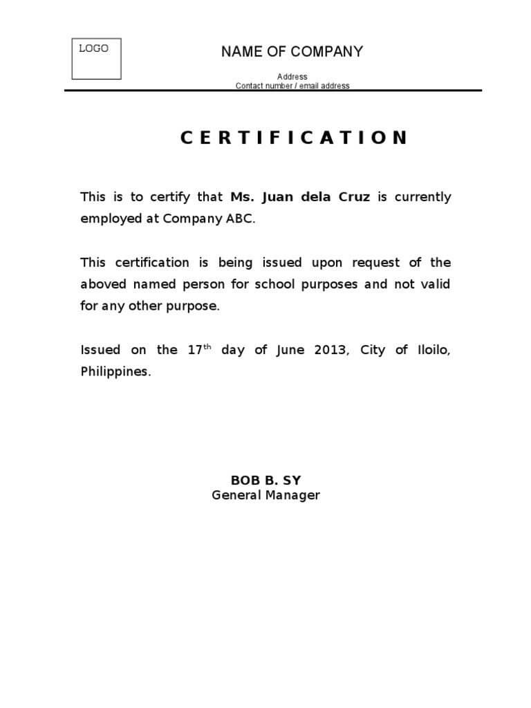 30 Certificate Of Employment Template | Simple Template Design regarding Template Of Certificate Of Employment