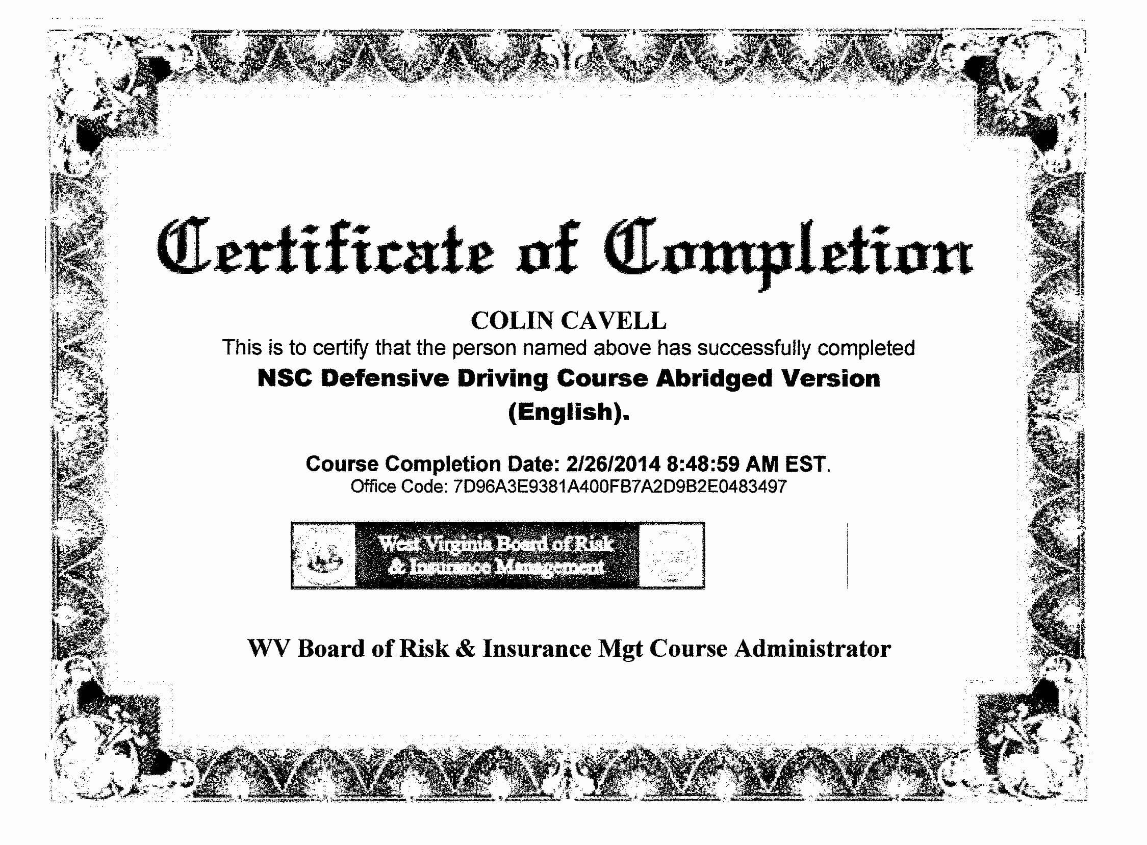 30 Defensive Driving Certificate Template | Pryncepality For Safe Driving Certificate Template