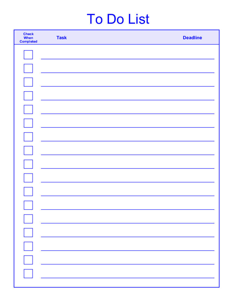 30 Fillable To Do List | Andaluzseattle Template Example Within Blank Checklist Template Pdf