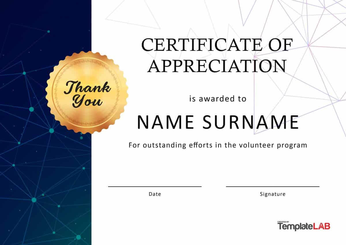 30 Free Certificate Of Appreciation Templates And Letters In Volunteer Award Certificate Template