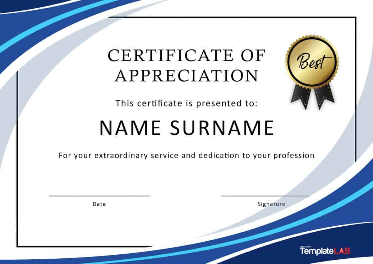 30 Free Certificate Of Appreciation Templates And Letters inside Certificate Of Recognition Word Template